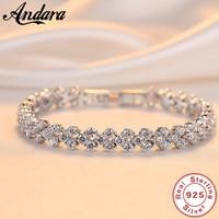 Crystals Bracelets Women's Fashion Bracelet Austrian Rhinestones Paved 100% 925 Sterling Sliver Bracelets For Girlfriend