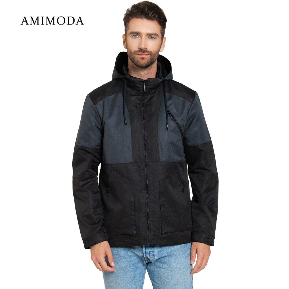 Jackets Amimoda 10016-0108 Men\'s Clothing windbreakers for men  cloak jacket coat parkas hooded self tie waist solid hooded coat
