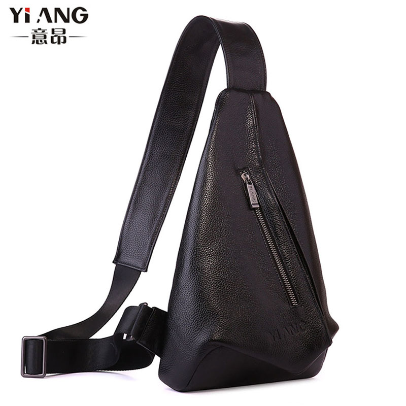 Men Genuine Leather  First Layer Cowhide Sling Chest Bags Messenger Shoulder Bag fashion Travel Casual  Sling Chest Back Pack 7071lc free shiping 2015 brand genuine leather travel bag first layer of cowhide travel bags for men tote bag