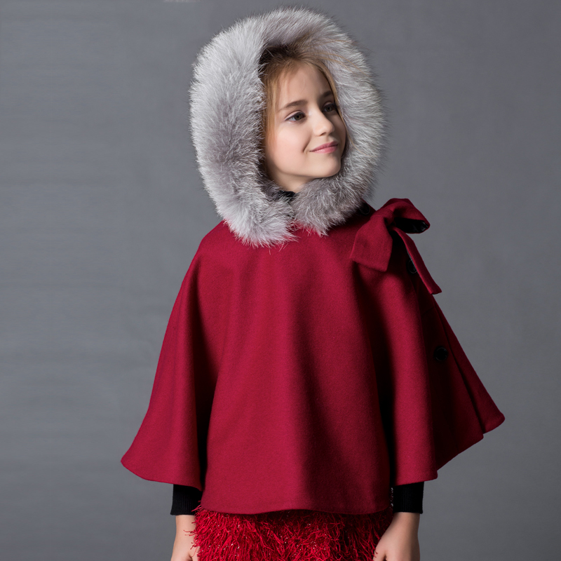 Girls Cape Cape coat big  fur coat warm cloak real fur collarGirls Cape Cape coat big  fur coat warm cloak real fur collar