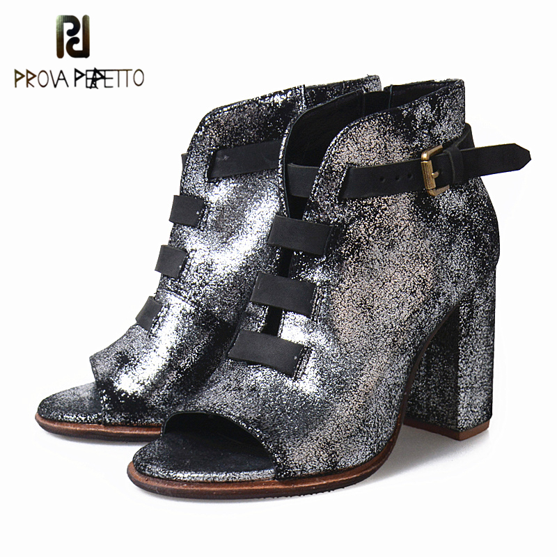 Prova Perfetto 2019 Spring Fall Shoes Ankle Boots For Women Bling Belt Buckle Boots Thick High