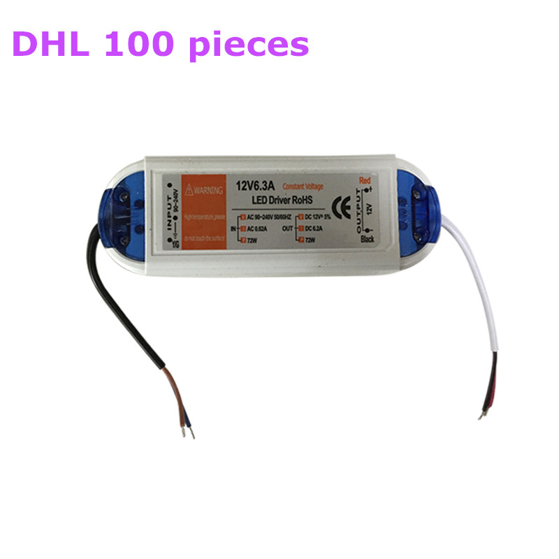 100 pcs HOT SALE Led Driver AC 90-240V DC 12V 72W Lighting Transformers High Quality for LED Strip Power Supp