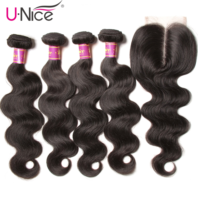 UNICE HAIR Malaysian Body Wave 3/4 Bundles With Closure 5PCS Lace Closures With Hair Weaves Remy Human Hair Bundles With Closure