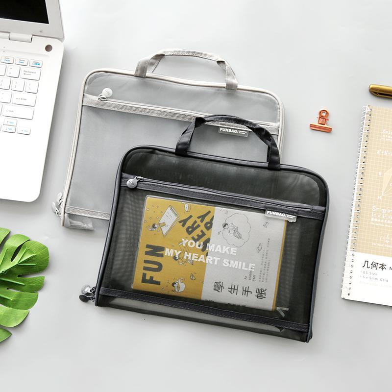 Transparent Mesh Document Bag Office Bag Large Capacity Double-layer Learning Storage Bag Briefcase File Folder