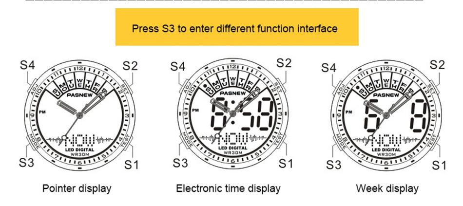 2018 Free Shipping Fashion Men Watch Waterproof Sport Men Wristwatch S Quartz Digital Boy Clock Relogio Masculino (2)
