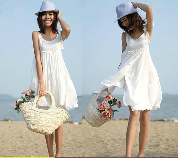 2014 White Vest Summer Dress Woman Beach Clothes Sweet Plus Size