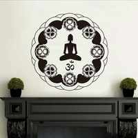 Waterproof Wallpaper Circular Indian Mandala Pattern Om Symbol Wall Stickers Removable Meditate Yoga Lotus Pose Decals