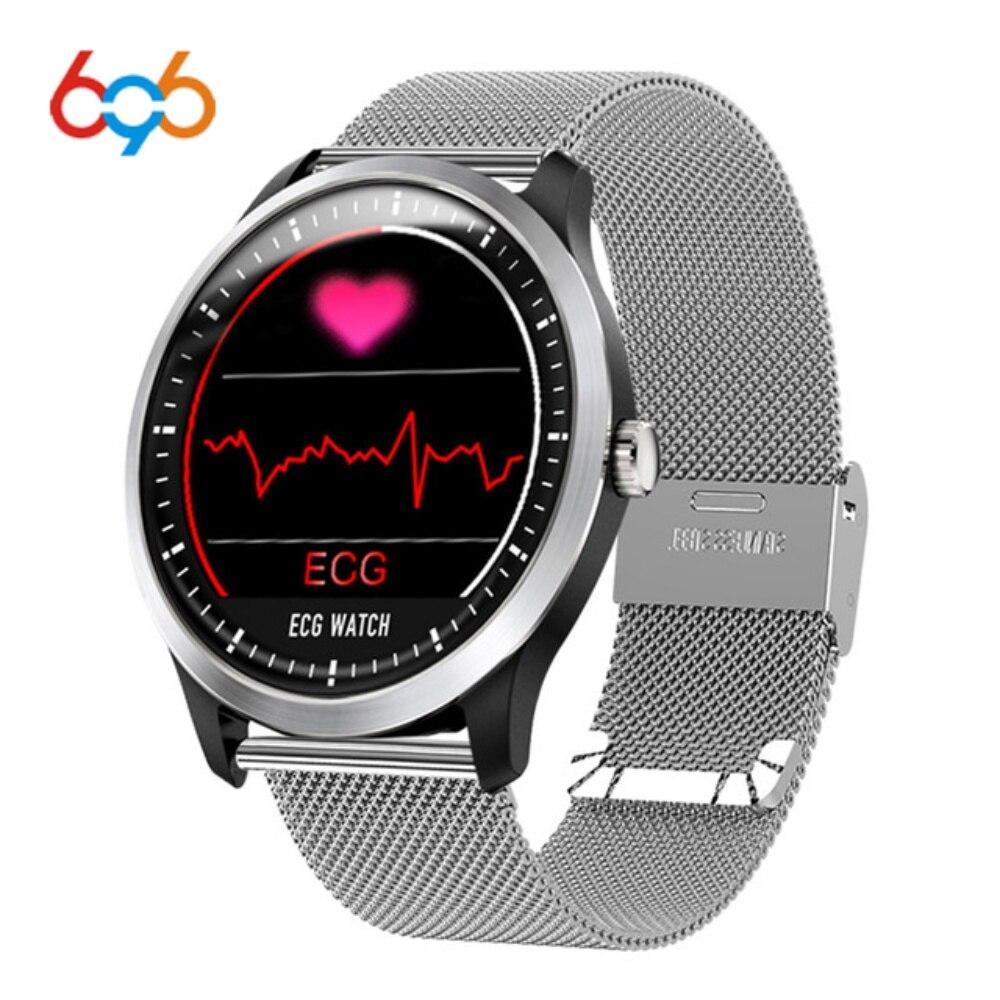 696 N58 ECG PPG smart watch con elettrocardiografo ecg display holter ecg heartrate monitor di pressione sanguigna donne braccialetto intelligente