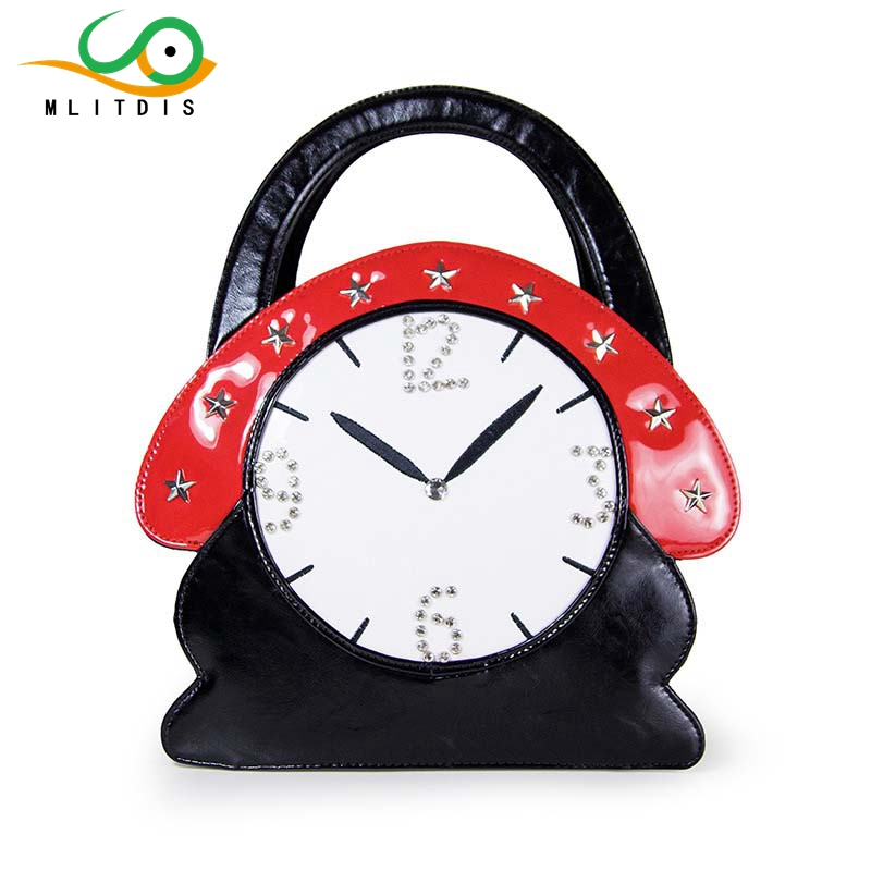 MLITDIS 2017 new fashion handbags artisanal diamond clock in Europe and America with the bag travel Creative Bags art female 2016 new styles of leather and fashion in europe and america
