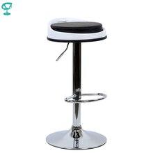 95181 Barneo N-49 Эко-кожа кухонный барный стул высокий стул с мягким сиденьем на газ-лифте черный стул для барной стойки мебель для кухни стул круглый для бара стул Казахстан по России