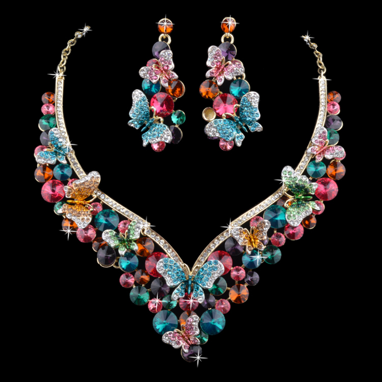 18K Gold Plated Pink Crystal Indian Style Butterfly Wedding ...