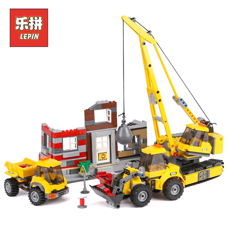 Lepin 02042 City Series Demolition Site Set Building Blocks Bricks Children Educational Toys compatible 60076 Christmas Gift lepin 02012 774pcs city series deepwater exploration vessel children educational building blocks bricks toys model gift 60095