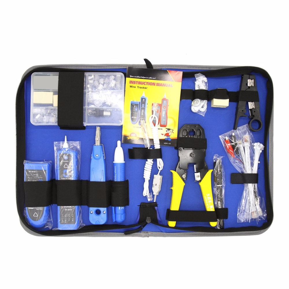 Network Repair Tool Kit With Wire Stripper Wire Tracker Krone Punch Down Tool Crimping Tool Maintenance Tool Set Drop Shipping