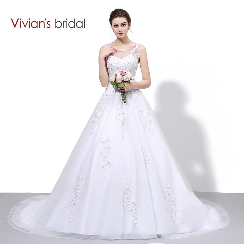 Vivian's Bridal Lace En Line Bröllopsklänning Pärlstav Sequin Ärmlös Bröllopsklänningar Brudklänning Robe De Mariage WD550-1