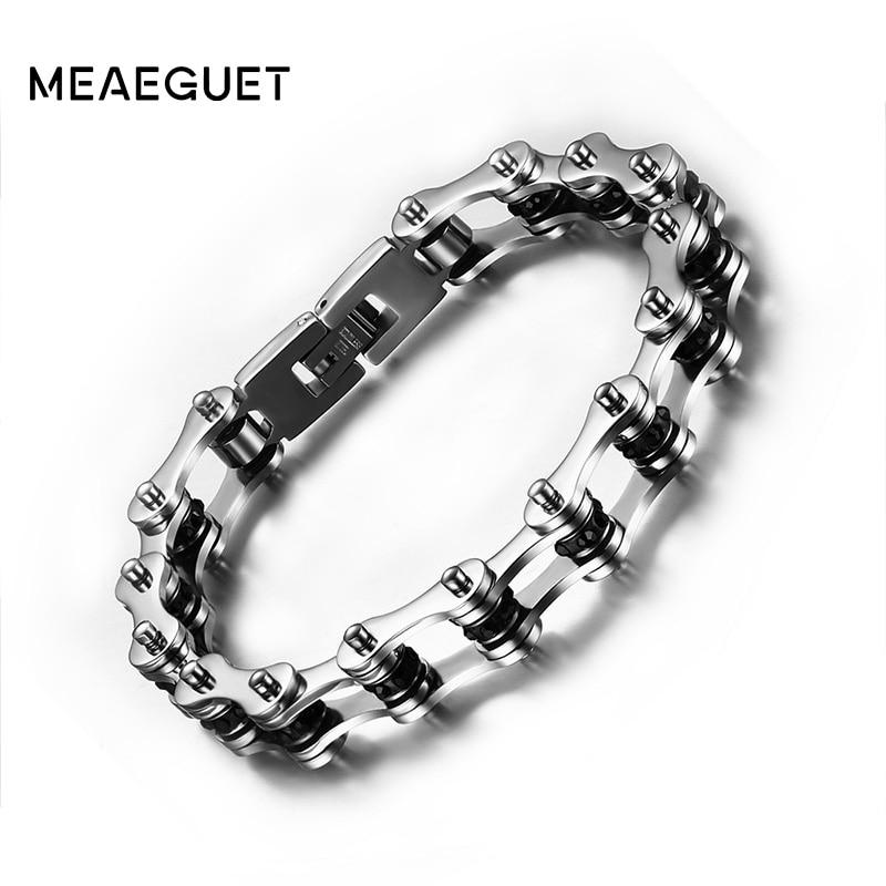 Meaeguet Rock Punk bike chain Bracelet Men Stainless Steel Biker Bicycle Motorcycle Chain Bracelets Bangles Men Jewelry