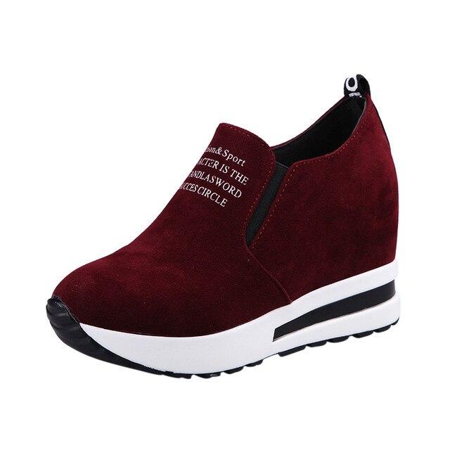 5d3ada63eb Mulheres Trepadeiras Outono Altura Crescente Sapatos Casuais Deslizar Sobre  Mocassins Calçados Femininos Fashion Da Plataforma De Alta Cunhas