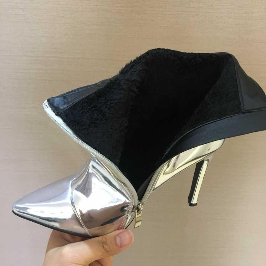 Nieuwste vrouwen laarzen sexy hoge hakken enkel laarzen voor vrouwen bont warme laarzen winter en herfst vrouw schoenen plus size 4-11
