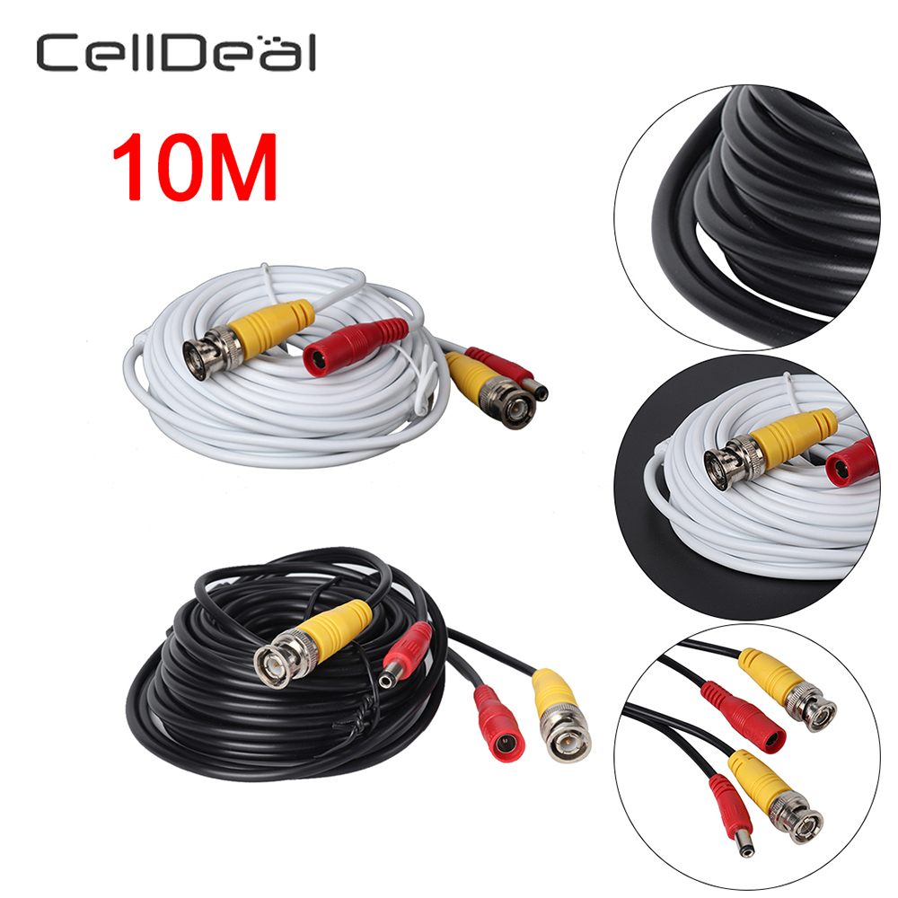 CellDeal 10m Meter Cctv Security Camera Dvr Bnc Video & Dc Power Cable Pre-made Lead Speaker Binding Post