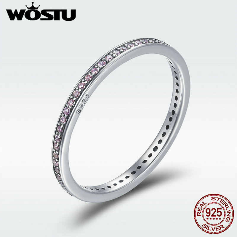WOSTU 100% 925 Sterling Silver Stackable Ring Classical Round Dazzling CZ Geometric Finger Rings for Women Engagement Jewelry