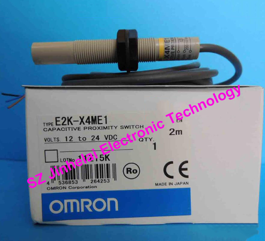 100% New and original OMRON CAPACITIVE PROXIMITY SWITCH  E2K-X4ME1   2M  12-24VDC e2ec c1r5d1 e2ec c3d1 new and original omron proximity sensor proximity switch 12 24vdc 2m