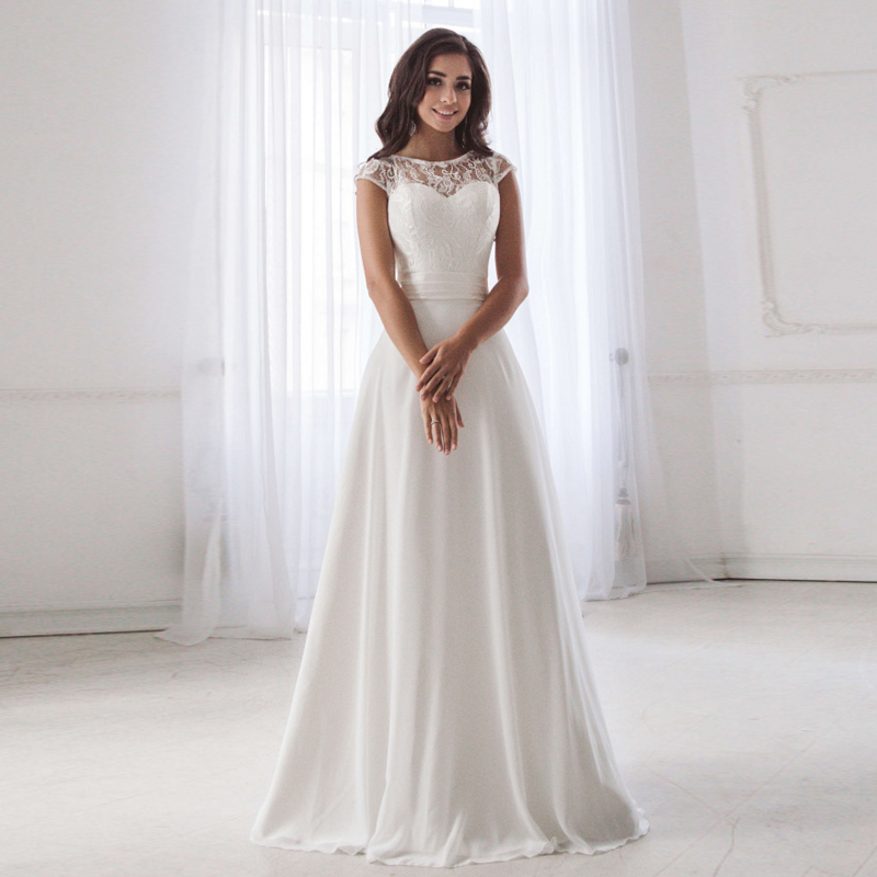 ADLN Cheap Scoop Neck Lace Wedding Dress Sleeveless Pleats Belt Chiffon Beach Wedding Dresses robe de