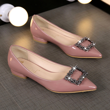 2017 spring and summer japanned leather side buckle pointed toe shoes rhinestone shallow mouth low-heeled shoes boat shoes lady