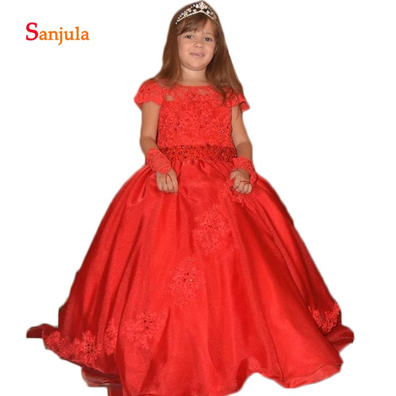 Red Ball Gown   Girls   Pageant Party   Dresses   Cap Sleeve Appliques Beaded Sequins Charming   Flower     Girls     Dresses   Backless D93