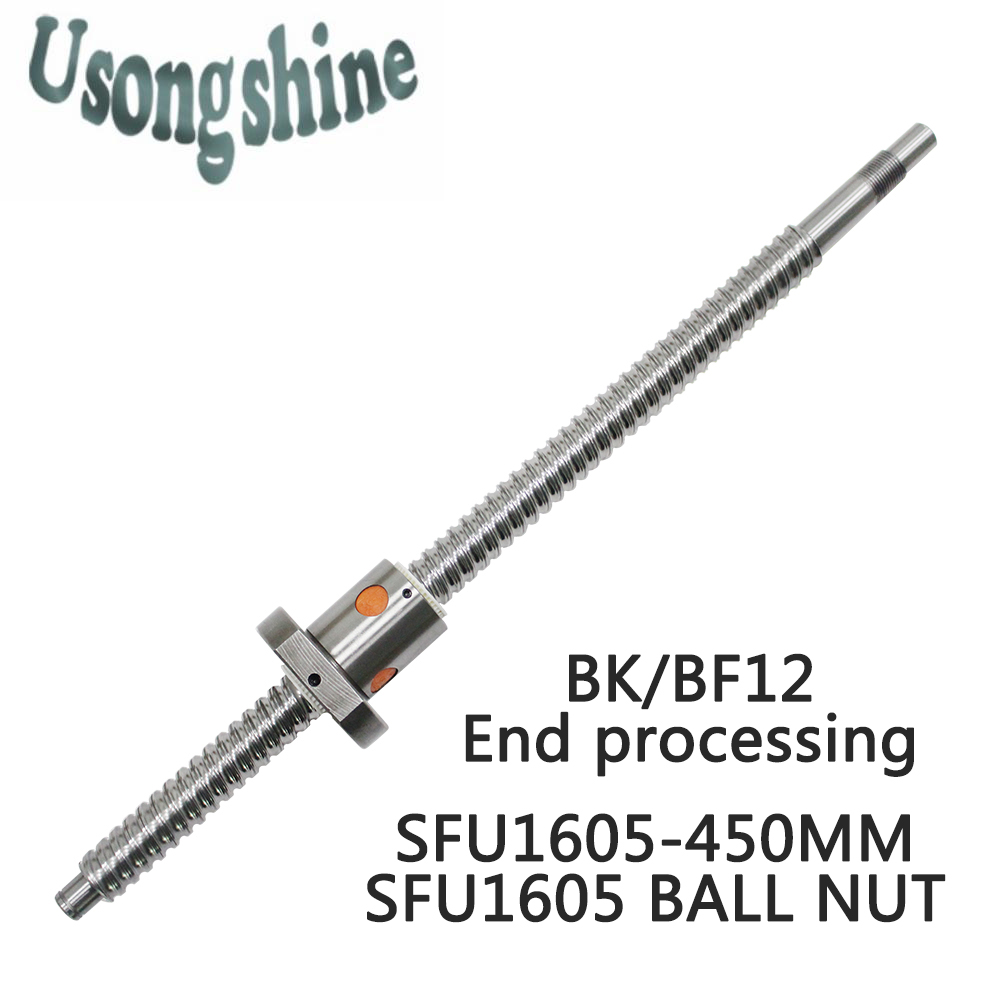 SFU1605 16mm 1605 Ball Screw Rolled C7 ballscrew SFU1605 450mm with one 1605 flange single ball nut for CNC parts and machine hiwin 1616 ballscrew 600mm c7 dia 16mm pitch with end machined and ball nut for cnc kit parts high speed