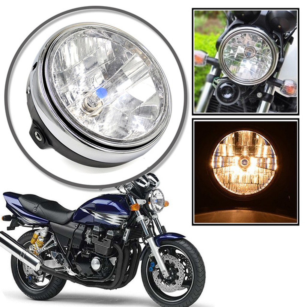 12V Motorcycle Round Chrome Head Light Halogen Headlight Lamp For Hornet 250 600 900 Honda CB400 500 1300 VTEC VTR 250