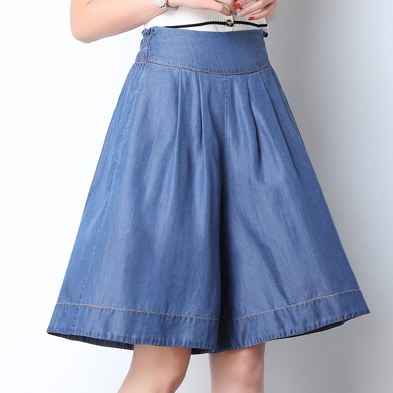 851 days silk denim   shorts   summer wear thin elastic waist fat mm big yards loose 5 points tall waist wide-legged