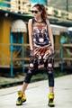 Moda Feminina Top Colheita de Ouro da Cópia Do Tigre 2016 Verão Nova Regatas Mulheres Vest Dance Show Costume Tamanho Livre