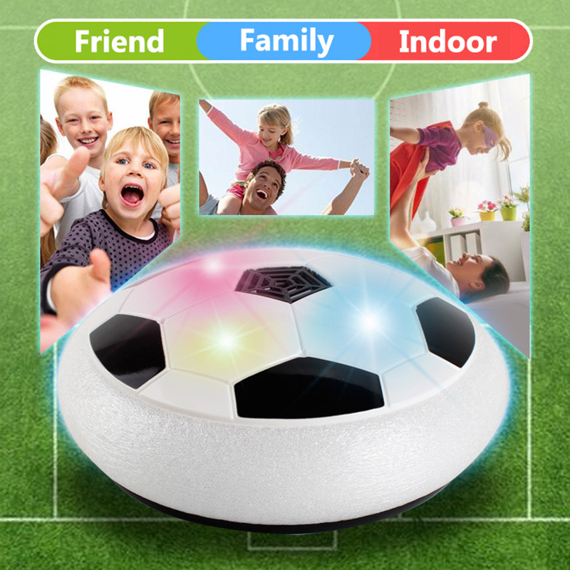 TOFOCO HOT Funny LED Light Flashing Arrival Air Power Football Ball Disc Indoor Soccer Toy In box Multi-surface Hovering Toy