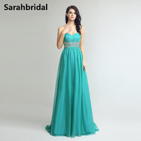 Cheap Long Robe De Soiree 2017 Hunter Green Sweetheart Beaded Crystals Floor Length Women Formal Evening