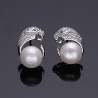 Tuliper Panther Leopard Animal Bridal Earrings 925 Sterling Silver Cubic Zircon Pearl Earrings For Women Party Gift Christmas