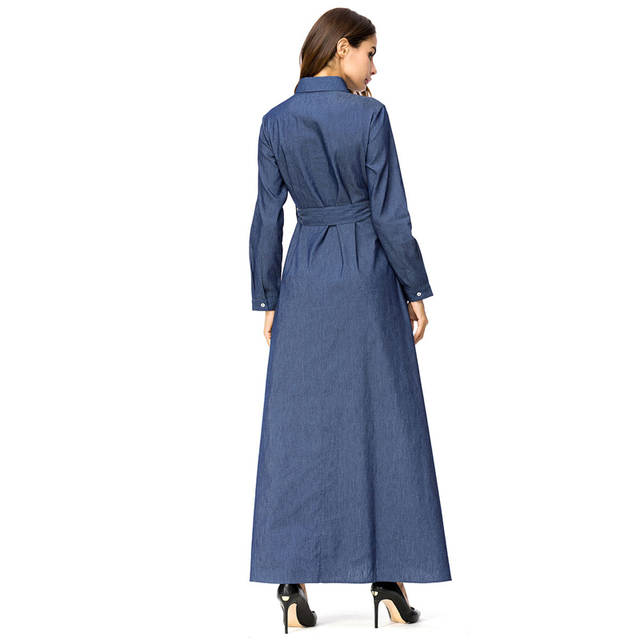 dc74809bdc8e2 Denim Maxi Dress Belt Embroidery Abaya Jean Women Long Sleeve Muslim  Fashion Flower Casual for ladies 2018 New Oversize Clothes