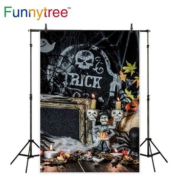 Funnytree backdrop photography apparition Halloween celebration skull churchyard devil scary decoration photo prop background image