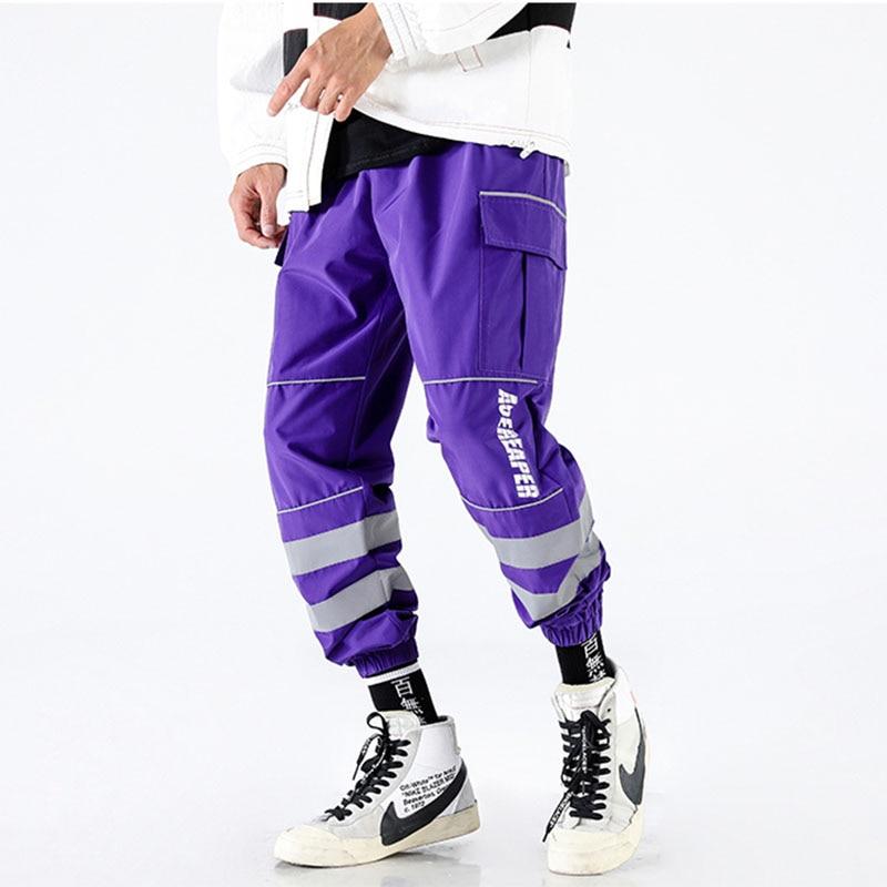 Multiple Pockets Cargo Pocket Nylon Track Pant Reflective Stripe Men Jogger Pants Streetwear Hipster Elastic Waist