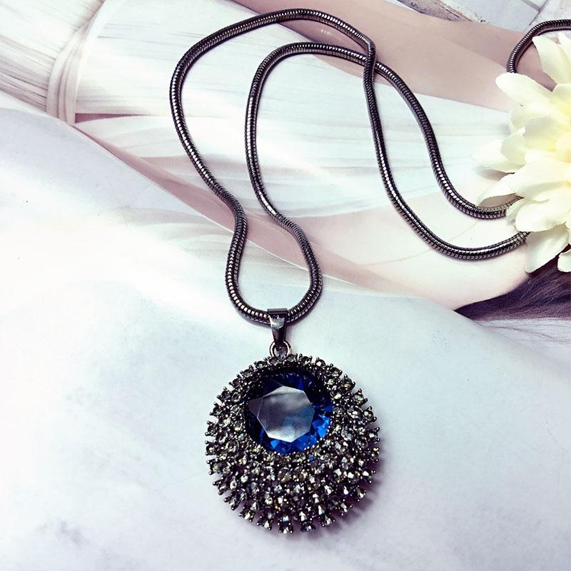 Vintage Blue Crystal Long Necklace Women Bijoux Fass