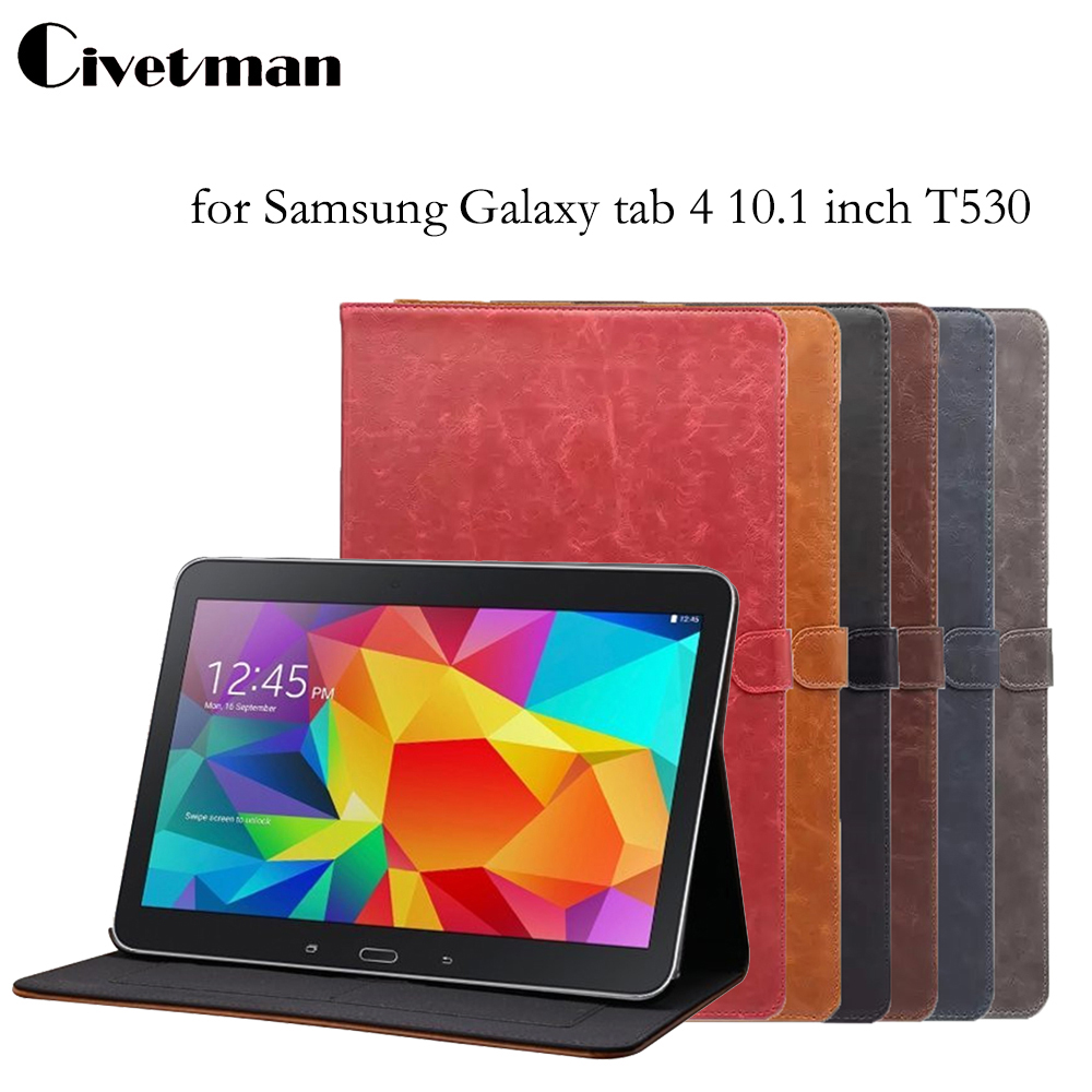 For Samsung T530 Tablet Case, Folio Crazy Horse pattern PU Leather Stand Book Cover for Samsung Galaxy tab 4 10.1 inch T531 T535 luxury flip stand case for samsung galaxy tab 3 10 1 p5200 p5210 p5220 tablet 10 1 inch pu leather protective cover for tab3