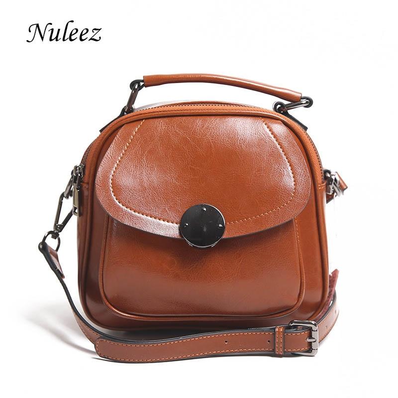 Nuleez äkta läder kvinnor flap väska cirkel metall dekoration mode - Handväskor - Foto 1