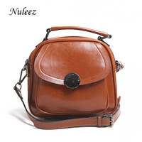 Nuleez genuine leather women flap bag circle metal decoration fashion new style for 2018 city life