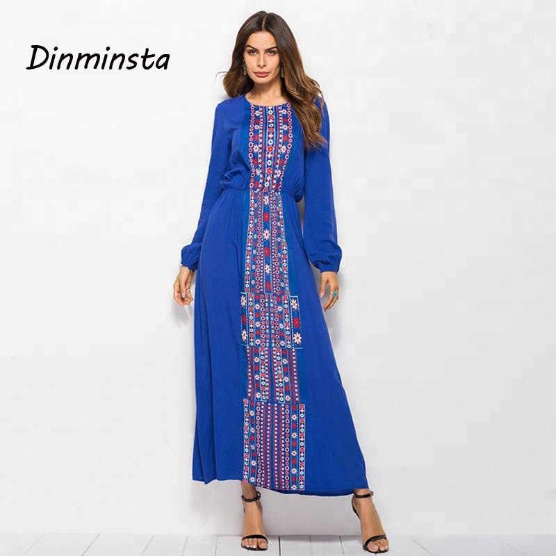 Dinminsta Women Blue Muslim Tunic Dress Long Sleeve Custom Print Indian Rayon Maxi Dresses Female New Spring Frock Design 2019 Aliexpress