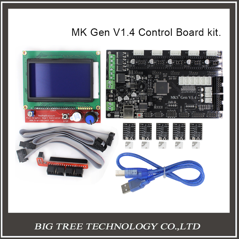 BIQU MKS Gen V1.4 3D printer kit with MKS Gen V1.4 RepRap board + 5PCS TMC2100 Driver/DRV8825/A4988+ 12864 Graphic LCD latest mks gen v1 4 control board mega 2560 r3 motherboard reprap ramps1 4 compatible with usb and 5pcs tmc2100 3d printer