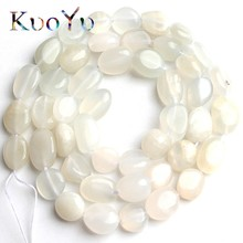 6-8mm Natural Irregular White Moonstone Beads Smooth Loose Spacer Beads For Jewelry Making DIY Bracelet Necklace 15Strand/Inch
