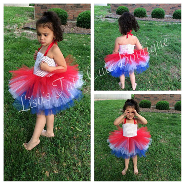 4th Of July Triple Layer Stacked Girls Tutu Dress Independence Day Baby Red White And