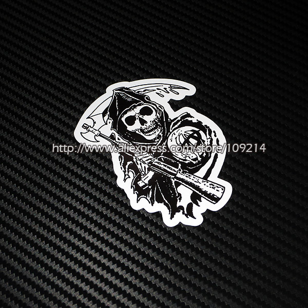 Hot sale <font><b>Sons</b></font> <font><b>Of</b></font> <font><b>Anarchy</b></font> helmet <font><b>motorcycle</b></font> Sticker Decals Waterproof 12