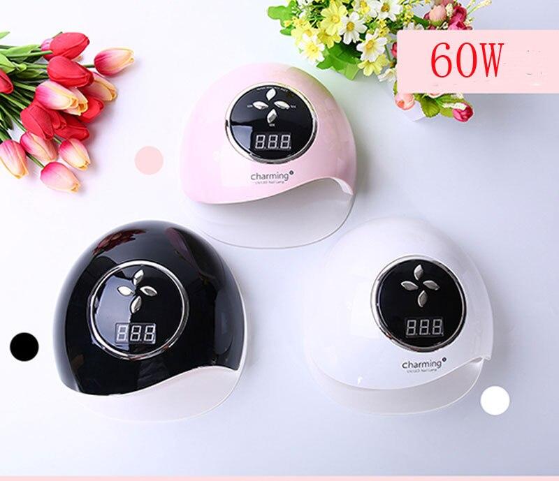 SUN charmant 60 W UV lampe lampe LED pour ongles sèche-ongles pour tous les Gels vernis avec détection infrarouge 10/30/60 s minuterie Smart touch button