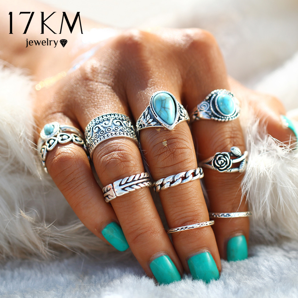 17KM 2 Color Rose Heart Midi Ring Sets Boho Beach Anillos Vis