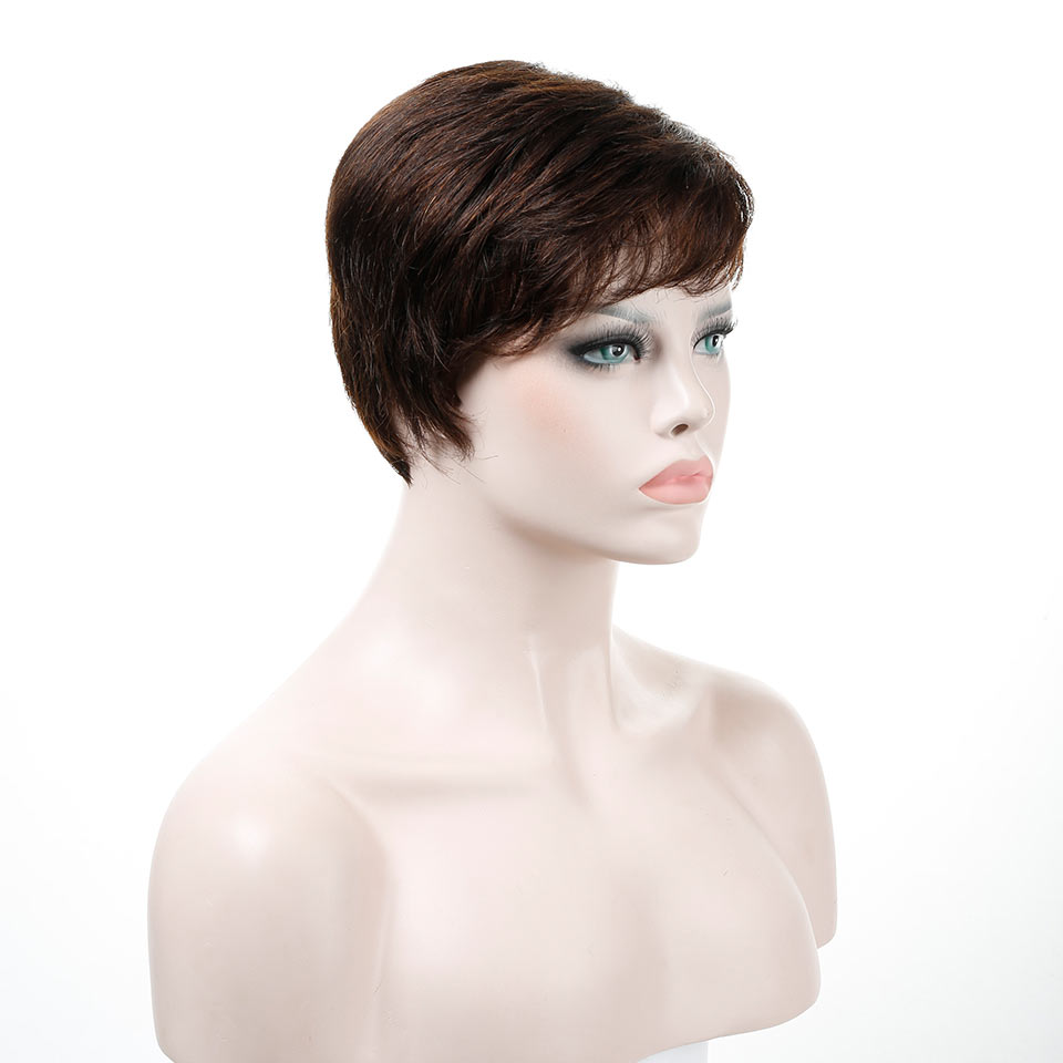 Bybrana Straight Short None Lace Wigs For Women 6inch Natural Color Brazilian Remy Human Hair Wig Romance Straight Free Shipping