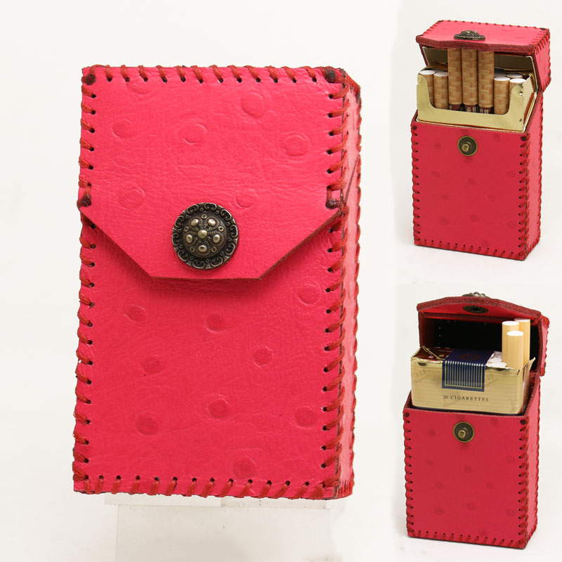 Rose Rouge En Cuir Motif Autruche Étui à Cigarettes 20 pièces Cigarette Boîte Aimant Snap À Clapet Pour Les Cigarettes À La Main